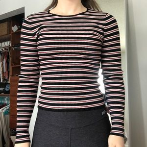 Forever 21 Black White and Red Striped Long Sleeve